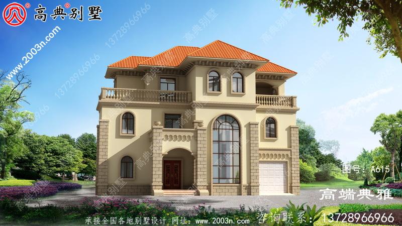 三层欧式别墅外观设计效果图,复式大厅配车库