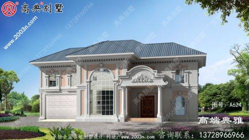 欧式两层别墅设计图,客厅空洞,占地面积259平