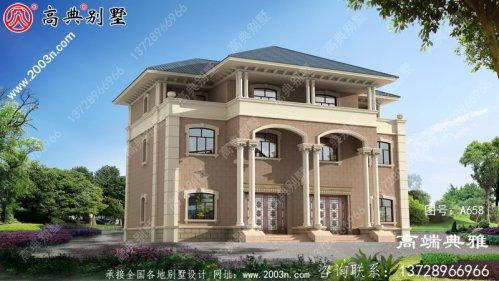 农村欧式双拼三层建筑的设计图和效果图。