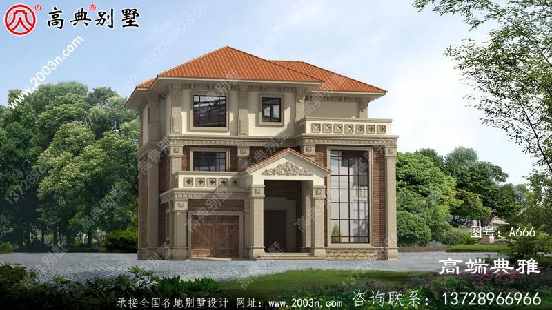 大气外观效果的欧式三层别墅设计图纸,复式设计带车库