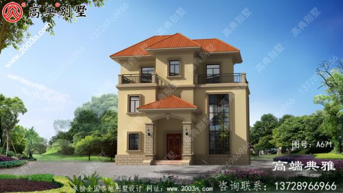 简欧三层新农村房屋设计图,外观效果大气