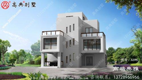 农村自建现代三层别墅设计效果图。占地126平方