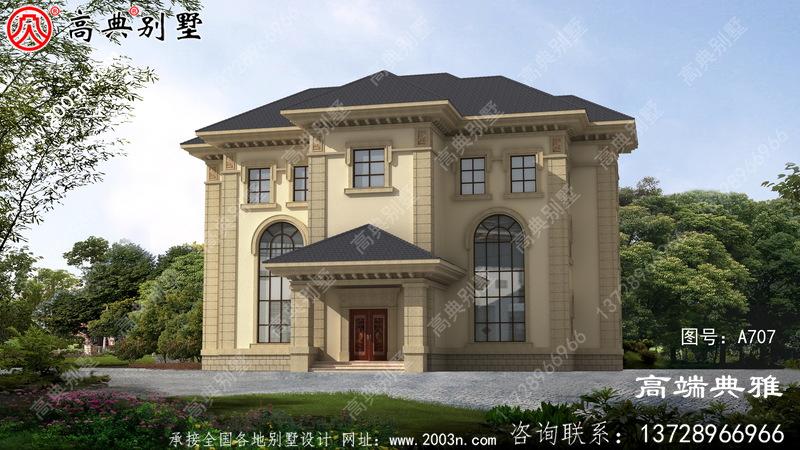 高档奢华三层别墅住宅建筑设计计划方案图,欧式古典外型设计风格