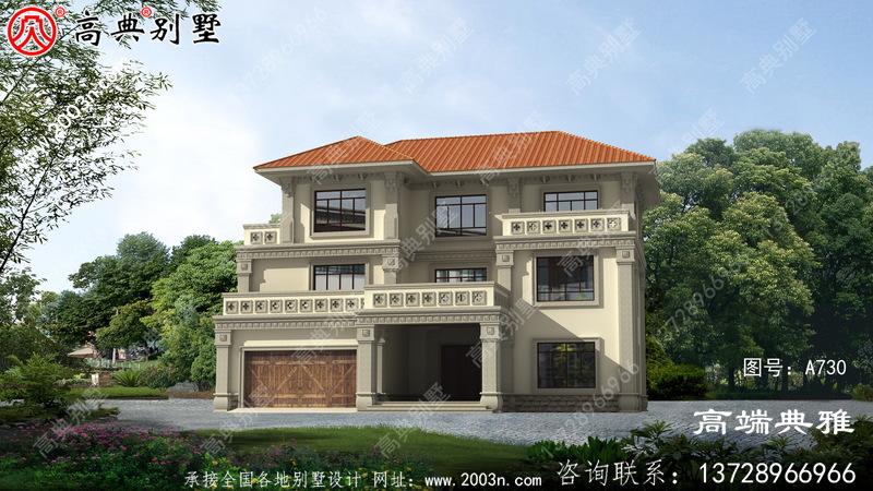 219平三层别墅房屋设计图,含外型照片,外型当代时尚潮流