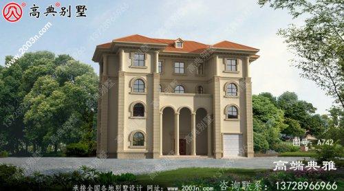 法式别墅设计纸带效果图,设计方案展示三层别