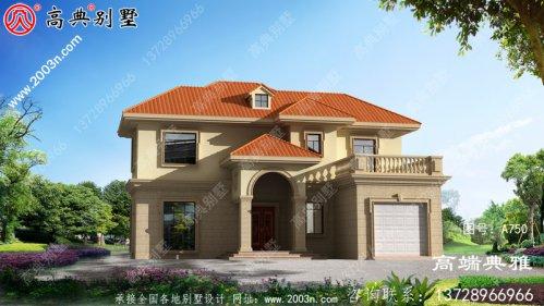 带阳光的欧式风格二层别墅设计工程图纸,外型