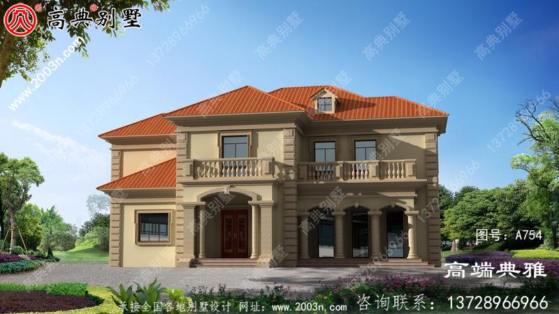 带复式设计的简欧二层别墅设计效果图附CAD建筑图