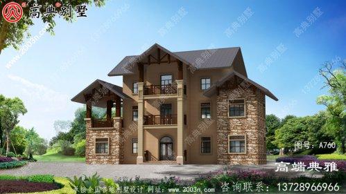 乡村建造房子三层别墅户型设计图,别致大气