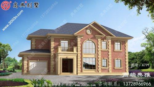 农村 自建两层别墅有车库,一套效果图含施工图