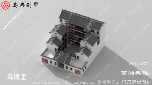 农村自建豪华中式四层别墅设计外观效果图,带