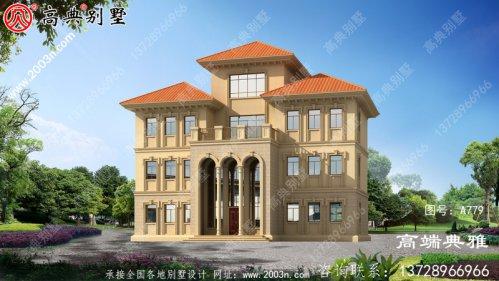 法式四层别墅设计外观效果图,外观清新明亮