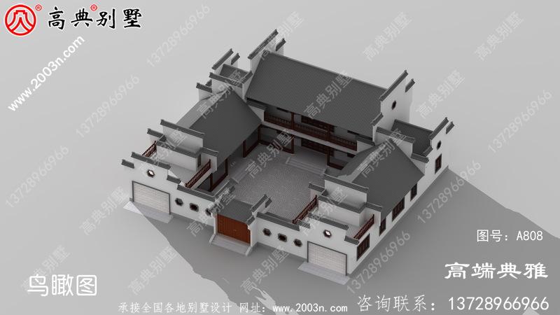 外型简约的中式二层四合院别墅设计图纸带双车库
