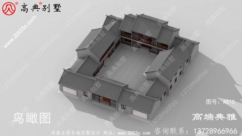 大户型二楼中式四合院别墅设计外