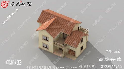 外观简单,户型合理的二层式别墅设计图带车库