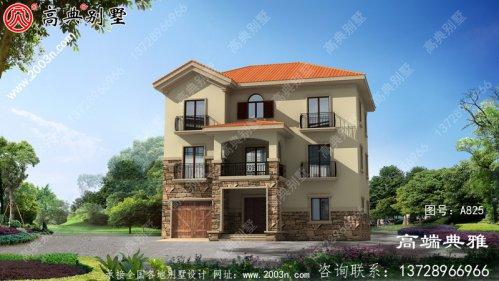 古典实用的新农村三层住宅设计图纸配车库
