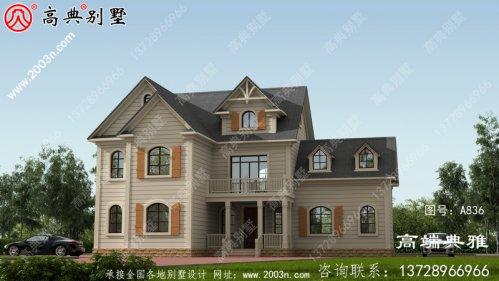 从外面看是高级奢侈的二层建筑的别墅设计图,