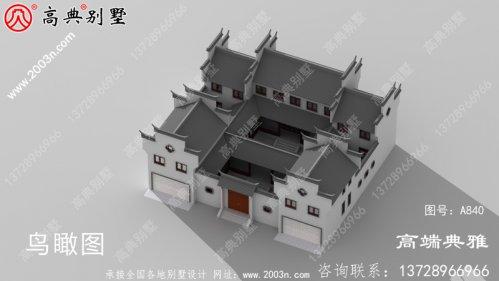 中式二层四合院别墅设计图,中式别墅方案推荐