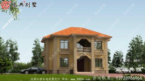 对称设计的欧式二层别墅。占地138平独栋别墅房