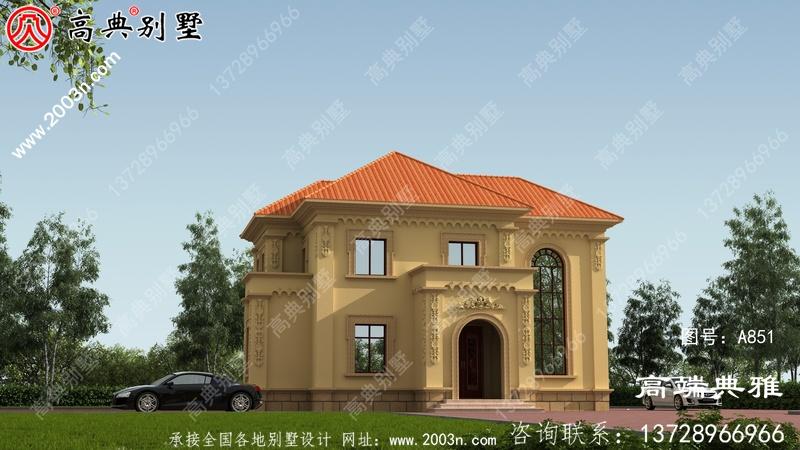 带车库二楼135平别墅住宅设计图,包括效果图