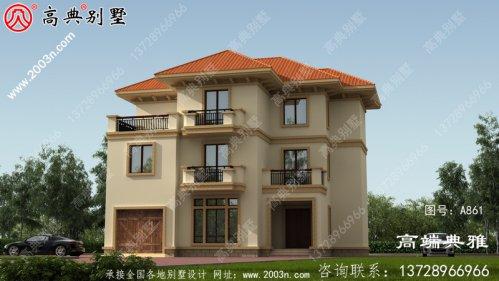 低调简欧三层带露台别墅设计施工图及效果图。