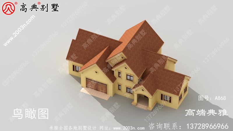 欧式两层别墅独特美丽的设计图,包括外观效果图。