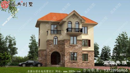 108平新乡村欧式三层小别墅房屋设计图纸,建房