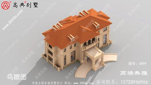 豪华大户型二层欧式别墅设计图,含外型设计效