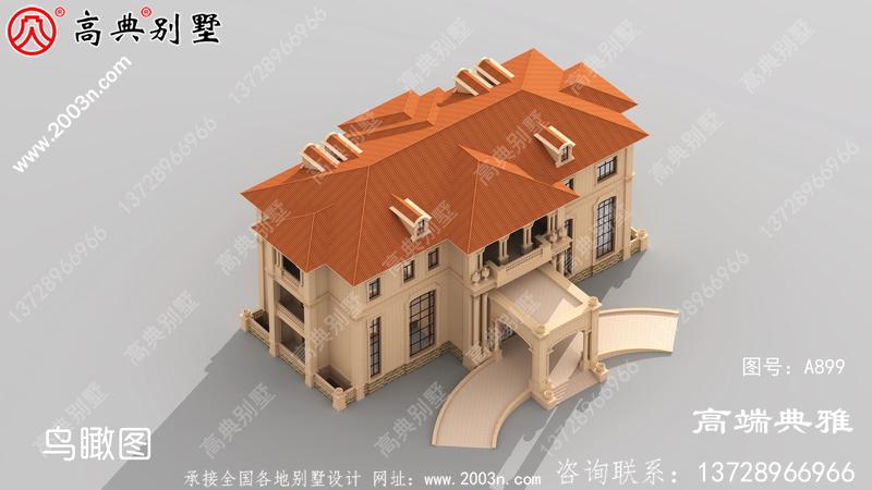 豪华大户型二层欧式别墅设计图,含外型设计效果图,造型设计精致