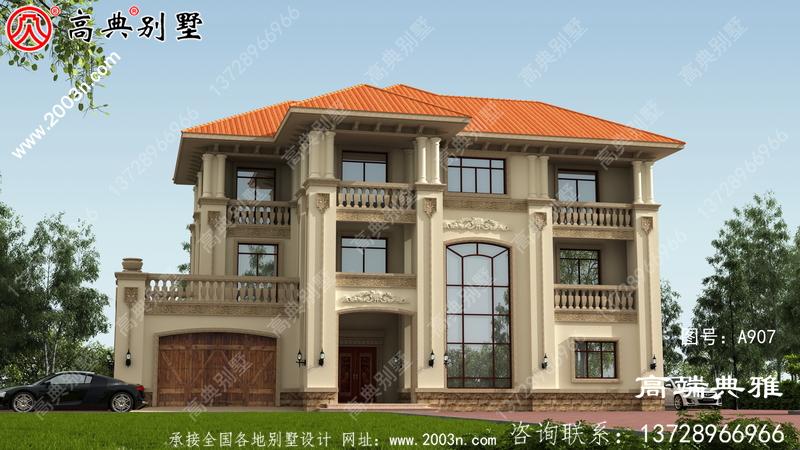 带车库和露台的欧式三层私人住宅设计图和效果图。
