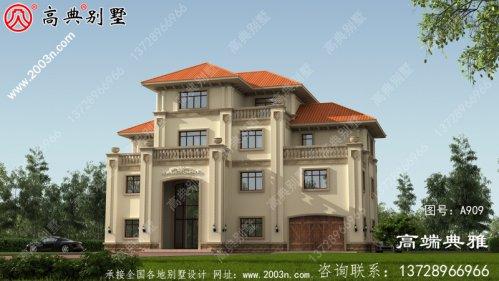 大气的带旋转楼梯四层别墅房屋设计图,房型实