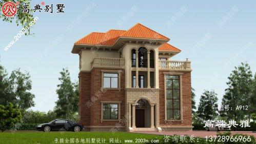 复式三层别墅房屋设计图,客厅挑高,采光好,