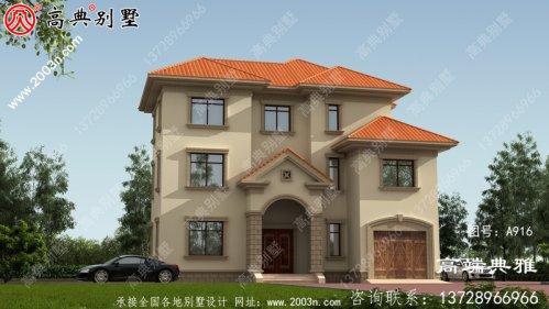 带车库设计的欧式三层别墅房屋设计图,客厅高