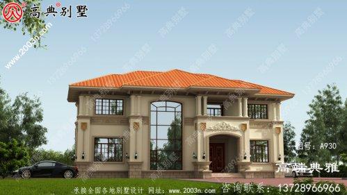 高端欧式两层别墅设计图纸,客厅中空,多个套