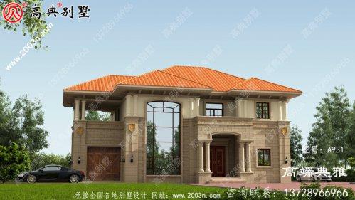 欧式两层别墅设计图纸,客厅复式,带车库