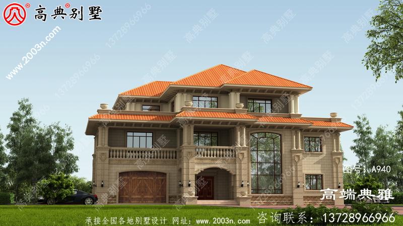 农村最受欢迎的三层别墅设计图纸带车库