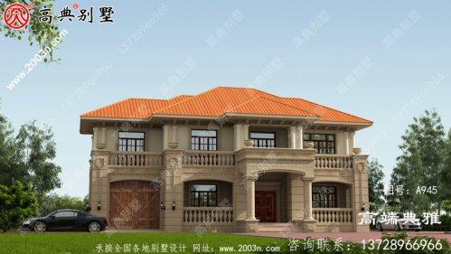 二层欧式别墅设计图,外型好看简易,占地187平