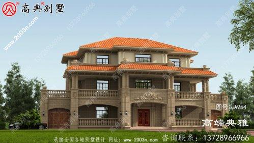 豪华的乡村自建三层别墅设计效果图,高档大气