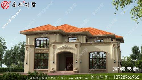 农村二楼洋房设计图,外观效果图,外观新颖,