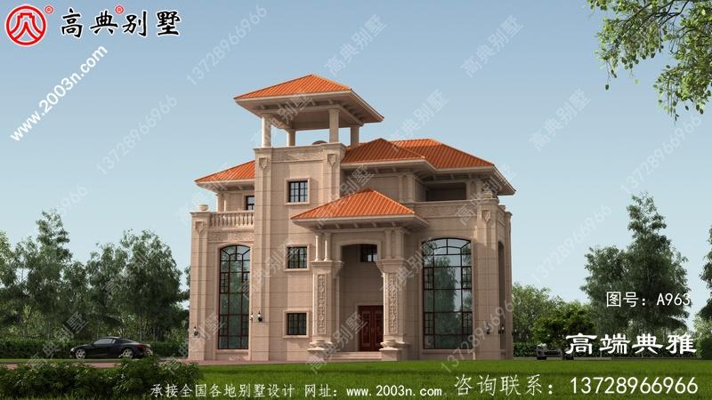 带外观图的农村三层建筑设计图,新型欧式别墅