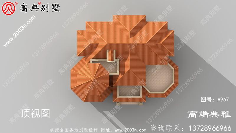 欧式三层农村建筑设计图,外观效果图。