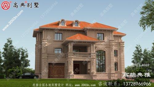 带车库设计方案的三层复式别墅,