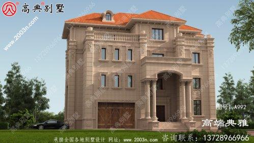 四层欧式石材别墅设计图纸(包括效果图)带车库