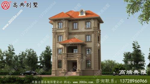 乡村简易四层房屋设计图,带设计效果图,占地