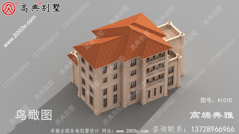 两层别墅设计平面图、平面设计用cad施工图和外观效果图