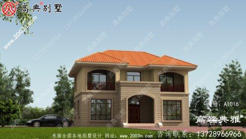 简欧对称二层欧式别墅设计效果图,构件少造价