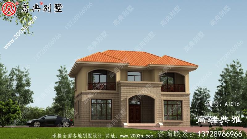 简欧对称二层欧式别墅设计效果图,构件少造价低。