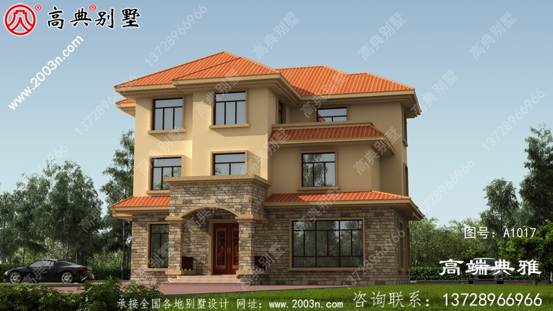 三层新农村住宅设计图纸及设计效果图,三层楼房设计图展现