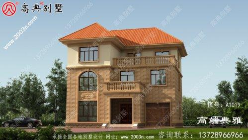 三层新农村住宅设计图、效果图建筑设计图带车