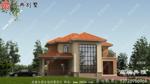 154平方米新农村二楼别墅设计图纸,大厅复式设