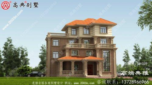 四层豪华欧式别墅自建建筑设计图,效果图及全